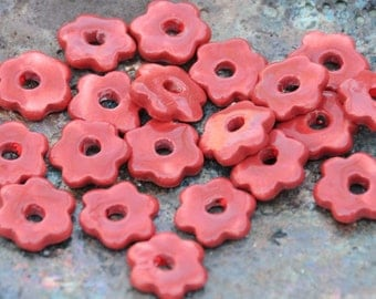 5 Mini Flower Beads In Tuscan Red