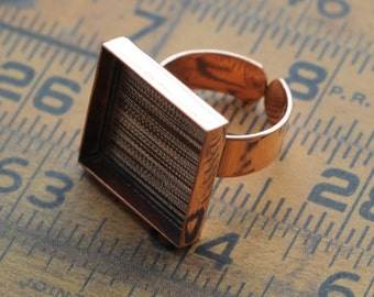 1 Copper Deep Welled Adjustable Square Ring 20mm blank