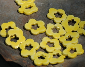 5 Double Flower Beads In Sun Kissed Yellow