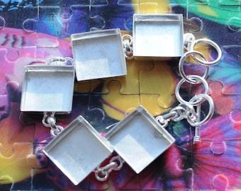 Linked Deep Welled Bracelet Sterling Silver Plated