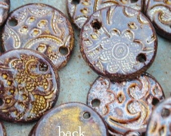 5 Copper Pottery Pendants or Beads