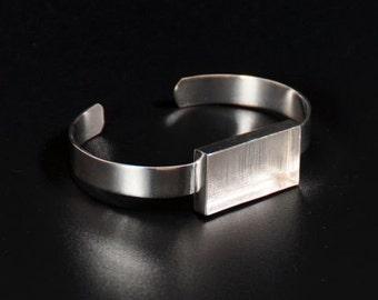Sterling Silver Plated Rectangular Deep Welled Bracelet Blank