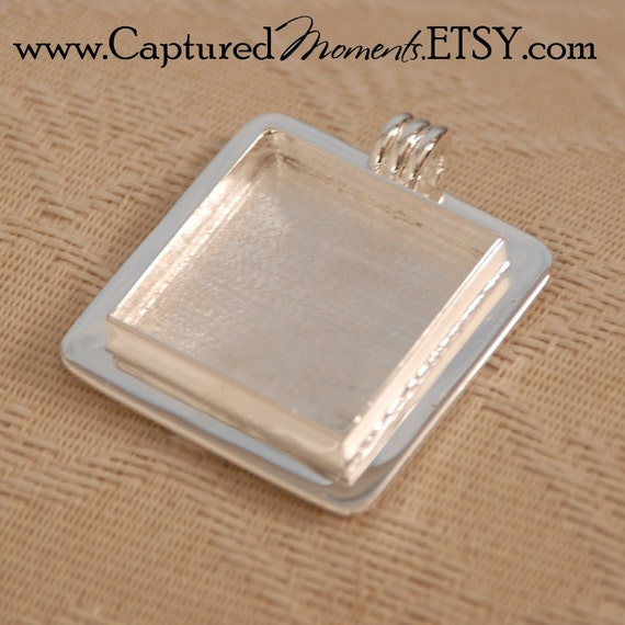 Wonderful Small Sterling Silver Plated Square Pendant Blank