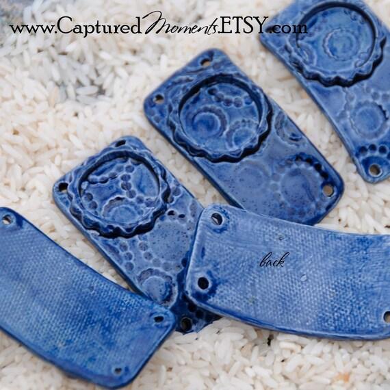 Midnight Blue Pottery Bracelet Component with Bezel