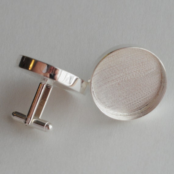 Cuff Links Round Circle Sterling Silver Plated 1 inch or 25mm