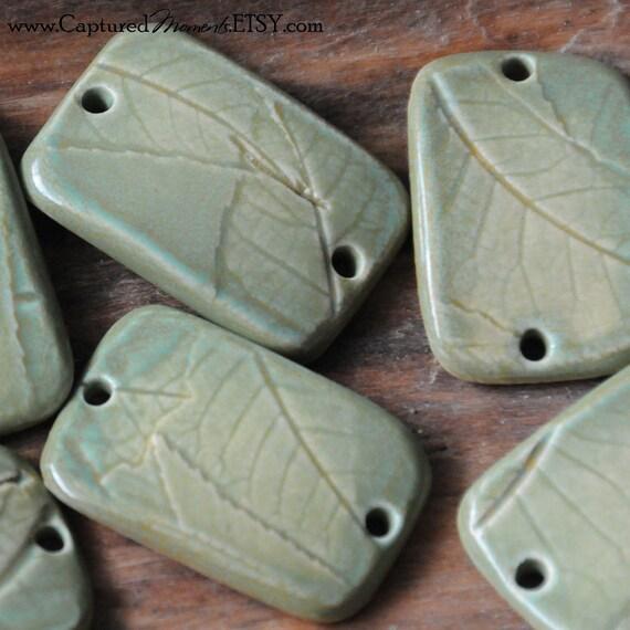 1Native Texas Pecan Leaves on Bracelet Bead in tidal pool green