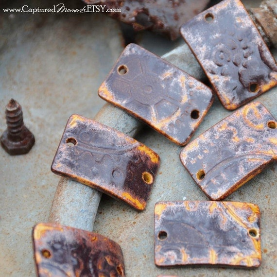 1 Steampunk Curved Beads in Copper Brown