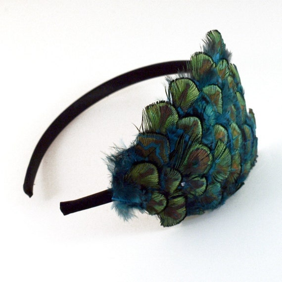 DEBUSSY blue green and gold feather headband