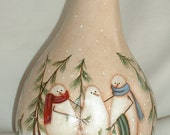 Snowman and Friends Gourd - Hand Painted