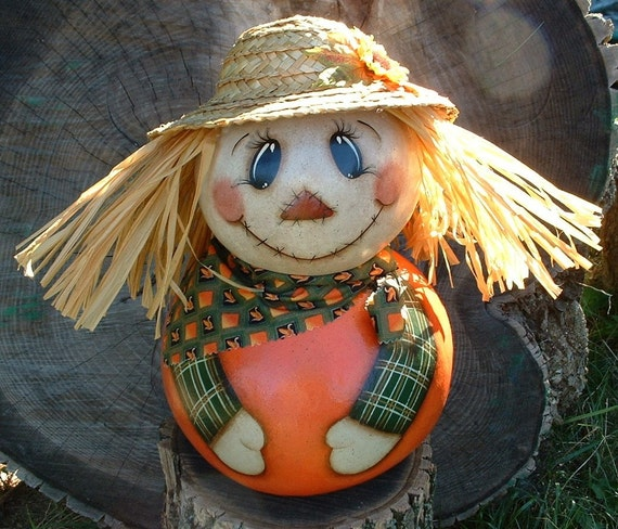 Gourd Scarecrow - Hand Painted
