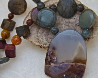earthy primitive gray brown rust black necklace ocean wave jasper pendant  picasso jasper sterling clasp OOAK jewelry