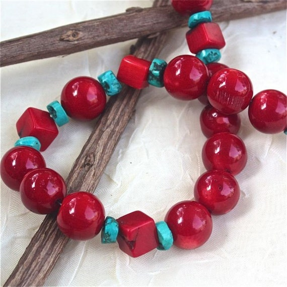 red coral Turquoise blue necklace