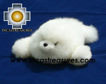 ALPACA STUFFED ANIMALS, Adorable White Seal -Gotita- FREE SHIPPING