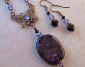 Clearance--Vintage Inspired Lampwork, Butterfly Filigree, and Crystal Neckace Set