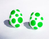 Yoshi Egg Stud Post Earrings, Hand made, and made to order