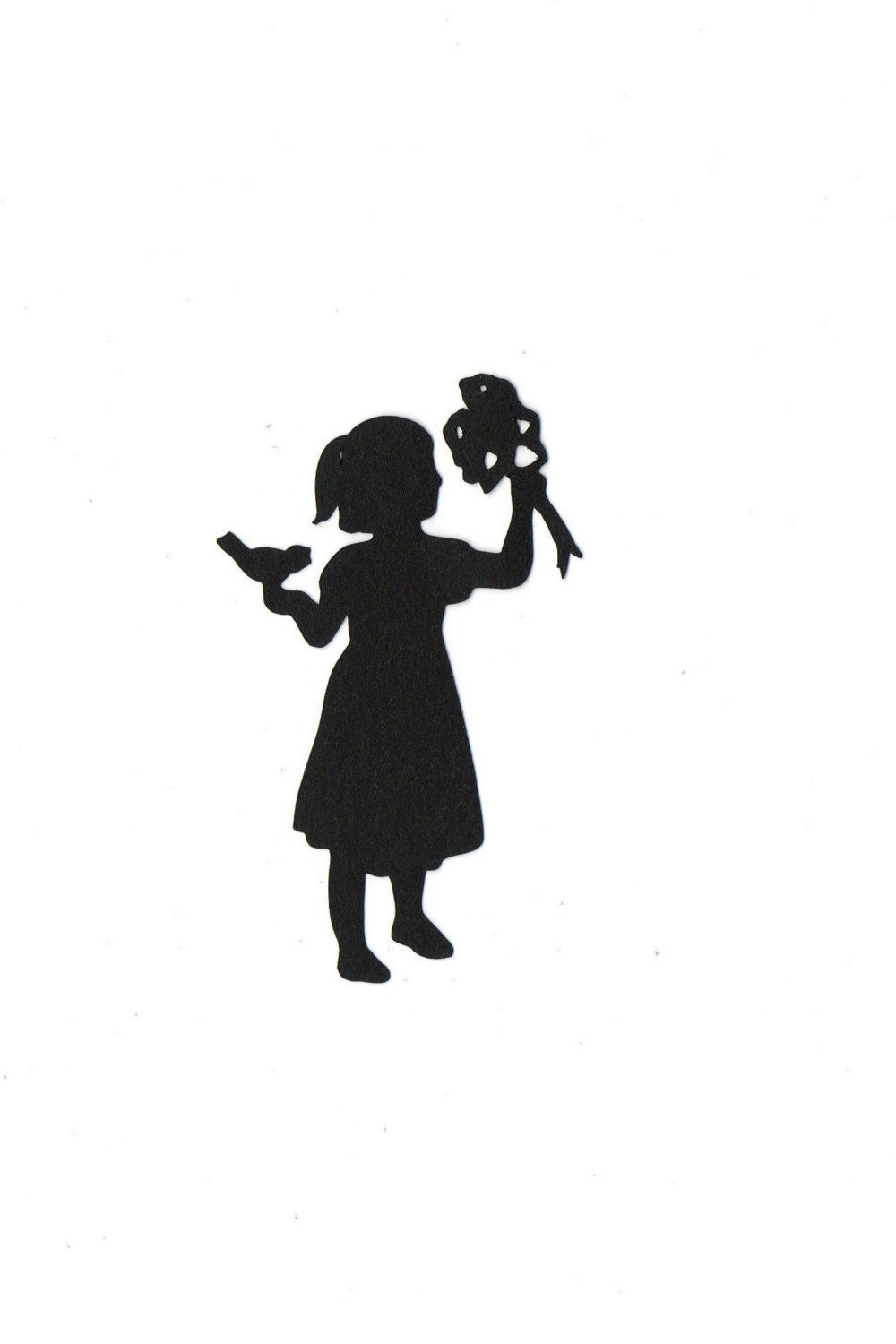 girl w/ flowers and bird Child Silhouette by ...