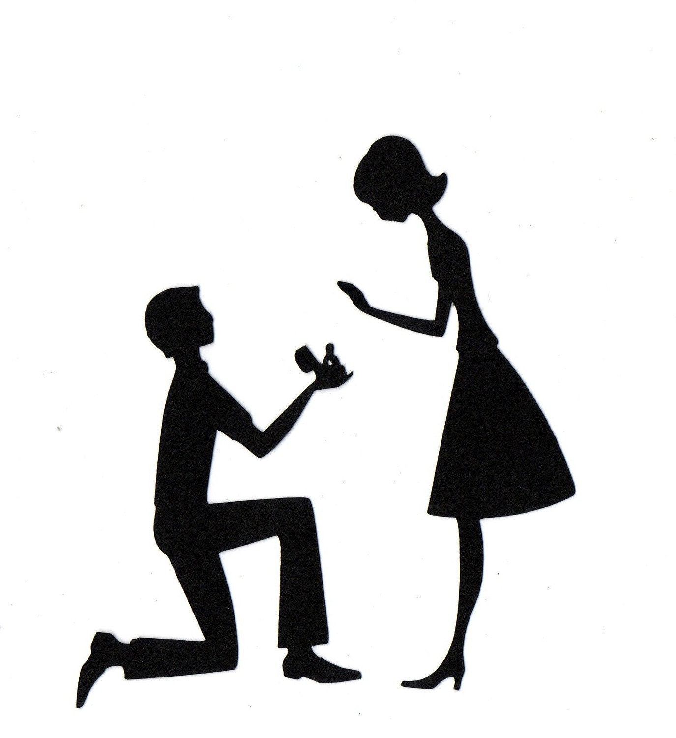 Engaged Couple In Love Wedding Silhouette by ...