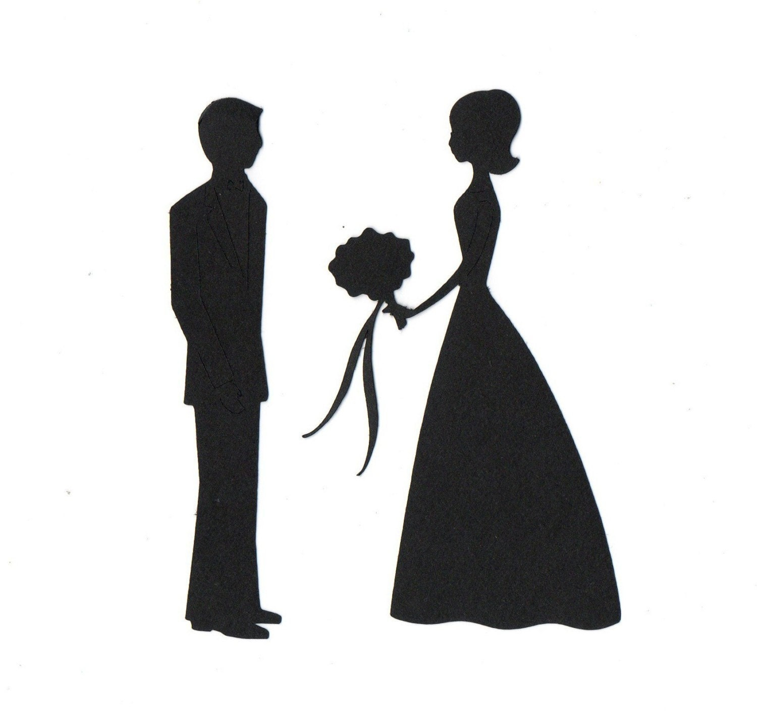 Wedding Bride And Groom Silhouette Die Cut By