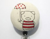 poppy pig - fabric button retractable badge reel