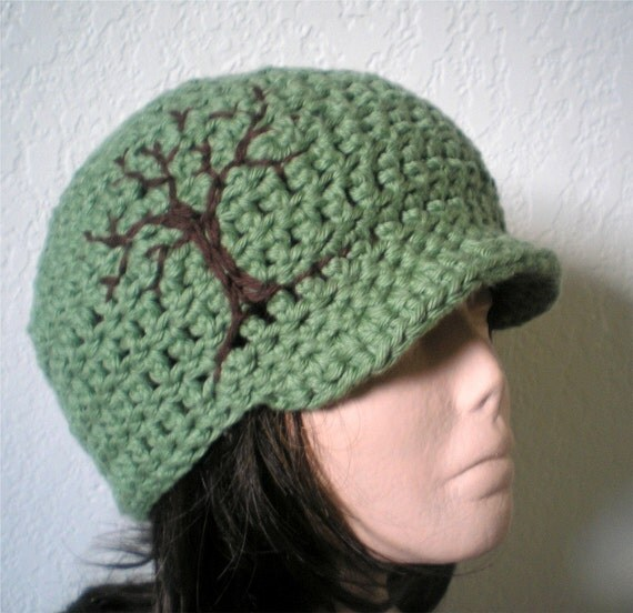 Resserved for SEWhisenhunt -- Cotton Brimmed Beanie with Embroidered Tree Design -- Custom Colors