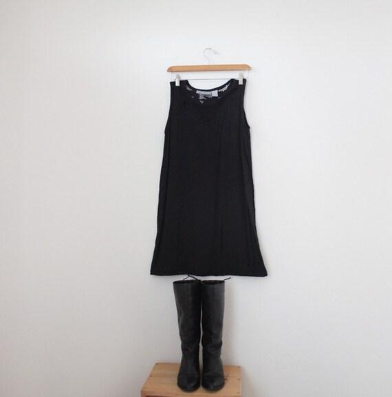 vintage black OPEN WEAVE floral embroidered mini tent dress