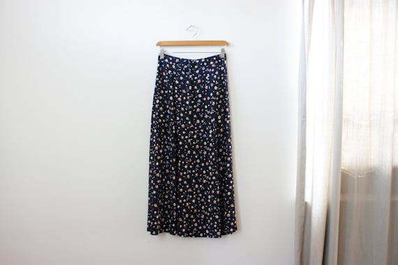 vintage 90s MAXI floral button down skirt