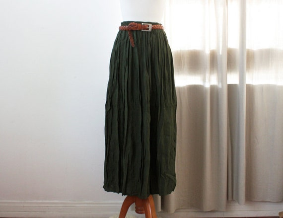 vintage army green full maxi skirt