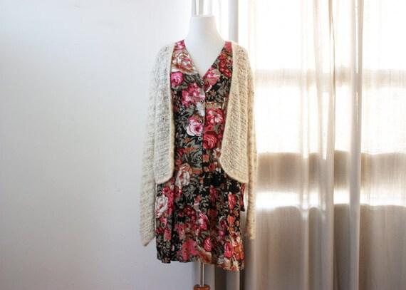 vintage multicolor floral print mini dress