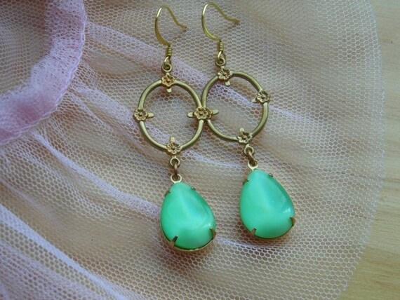 Mint Green Flower Earrings Frame Teardrop Daisy Vintage Assemblage Heirloom
