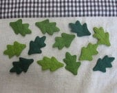 Felt green oak leaves