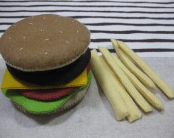Felt hamburger and french fries