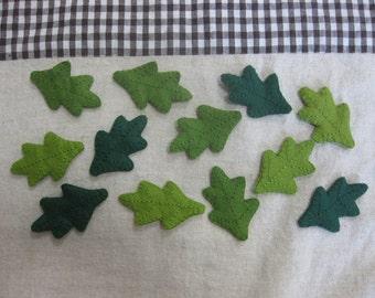 Felt green oak leaves