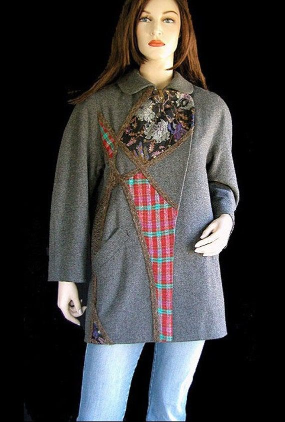 Koos Van Den Akker Vintage Coat Grey Wool Artsy Print