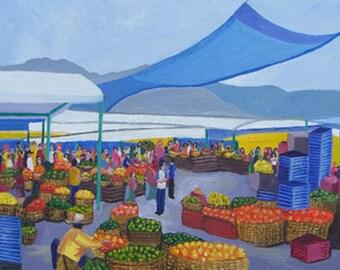 Tegucigalpa Honduras Central Market Oil Painting