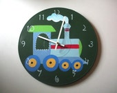 CHILDRENS HAND PAINTED RYDER TRAIN RECYCLED WALL CLOCK - FOR POTTERY BARN ROOM - BY BEARLY ART - WESTFIELD, MA (SECT. LK)