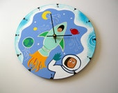 Kids outer space, space man rocket recycled wall clock - all clocks on clearance for 9.99