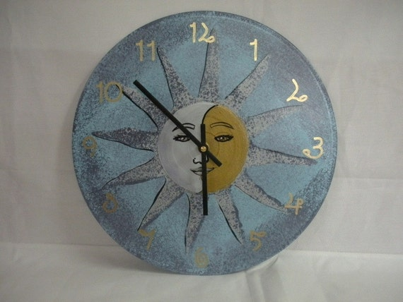 Sun Moon Face Blue White Silver And Gold Recycled Wall Clock