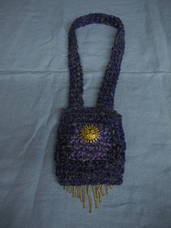 BearlyArtDesigns NECKLET - necklace pocketbook in purple and light purple with gold sun face and bead fringe