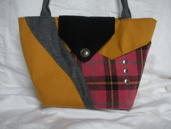 GOLDENROD FIELD  wool handbag in gold, black, warm pink and gray - by Dawn Garini - Niza Handbags - clearance