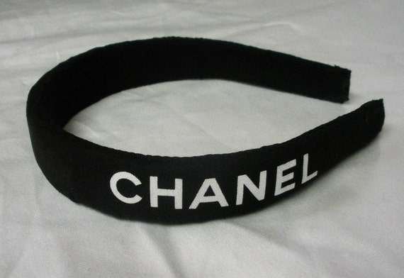 Black and white headband made from genuine CHANEL shoe storage bag