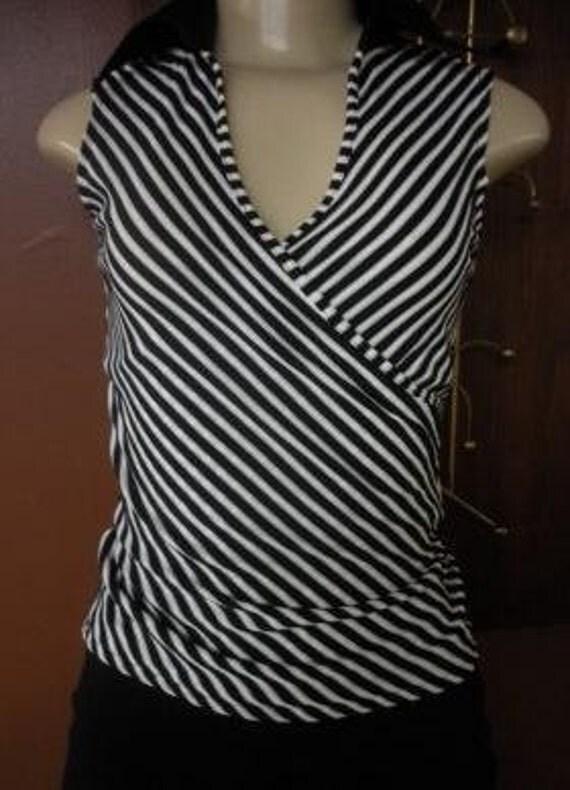 RAYURE PARIS black and white stripe surplice sleeveless blouse size 38 Medium 6 to 8 clearance