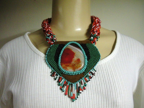 Niza Accessories LIFE  almost choker necklace crochet with fused glass cabochon, seed bead embroidery