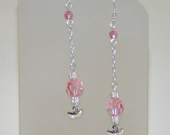 Pink Crystal Dangle Earrings With Silver Heart Charm