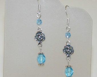Silver Rose Aqua Crystal Beaded Earrings