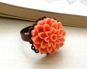 Autumn Orange Dahlia Antique Filigree Ring