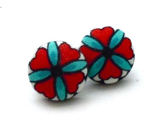 Button Earrings, Red and Teal, Button Jewelry, Earrings, Button Accessory, Fabric Jewelry, Earrings, Ear Studs