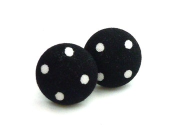Fabric Button Earrings, Black and White Polka Dots, Retro, Jewelry, Earrings, Fabric Button Earrings, Mod, Button Jewelry, Studs, Post