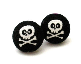 Fabric Button Earrings, Halloween Skull and Crossbone, Day of the Dead, Dia de Los Muertos, Jewelry, Earrings, Halloowen Jewelry