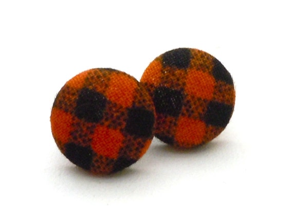 Button Earrings, Halloween, SF Giants Baseball, Orange and Black, Plaid, Jewelry, Fall, Gingham, Button Covered Jewelry, Earrings