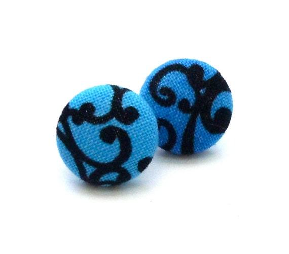 Button Earrings, Fabric Button Earrings, Blue Earrings, Stocking Stuffer, Aqua Blue
